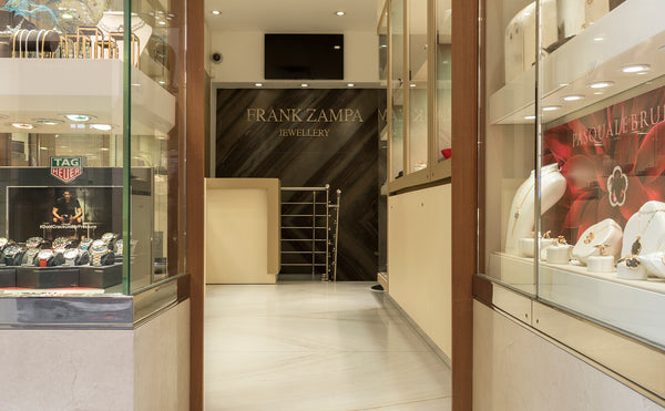 crema marfil plinth and bianco lasa marble for floor Frank Zampa Jewellery Malta