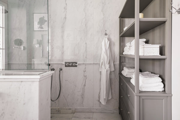 white marble wall cladding book matched