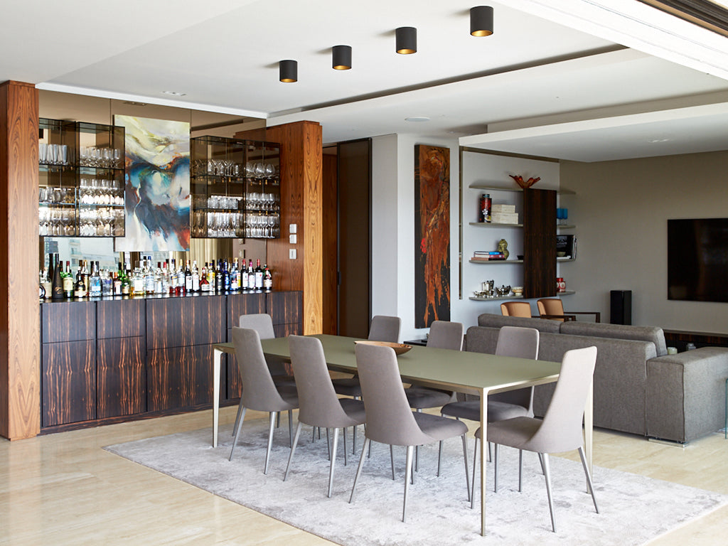 travertino floor living room bar area
