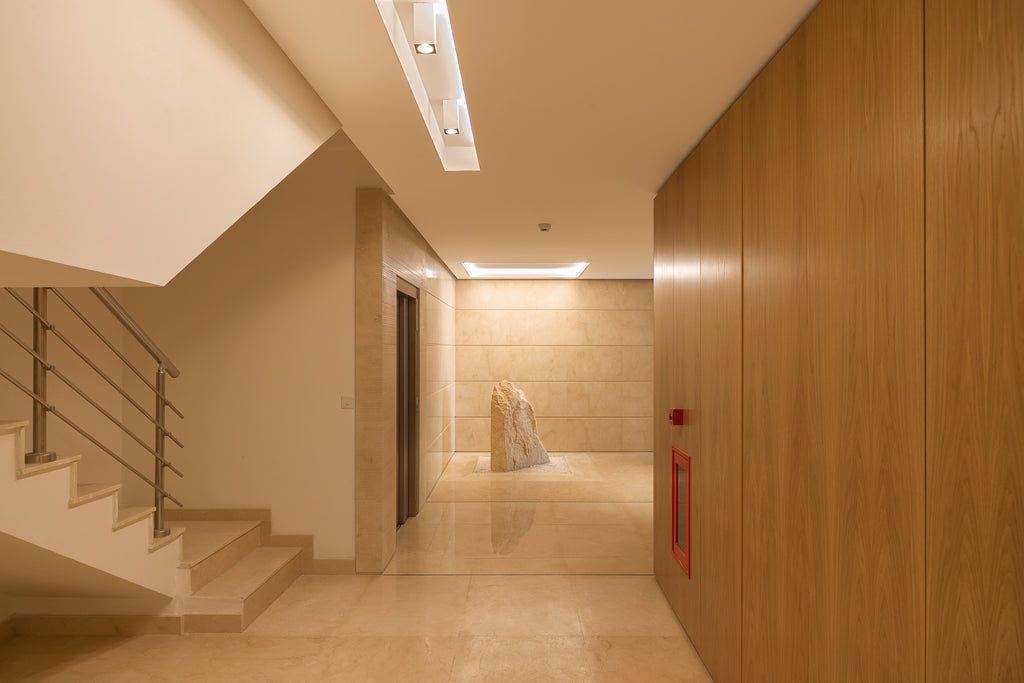 crema marfil floor wall cladding entrance hall building stairs