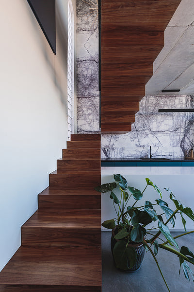 lilac marble wall cladding kitchen wooden stairs