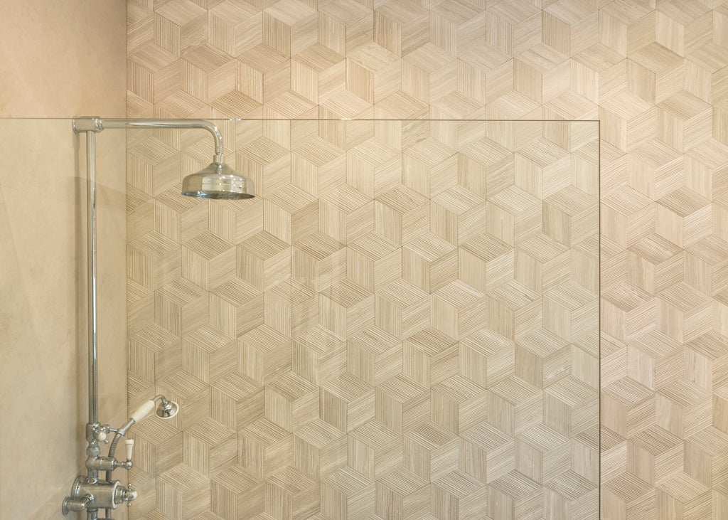 Limestone Persiano wall cladding shower feature wall rhomboid tiles silk georgette stone effect