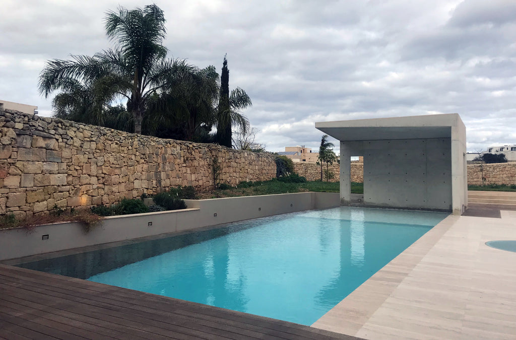 travertine floor swimming pool residence Malta
