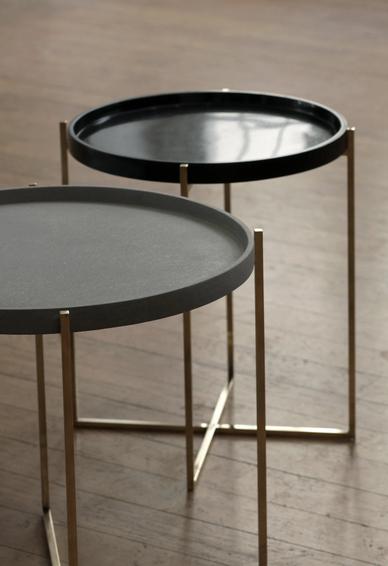 side table pietra serena sandstone and black