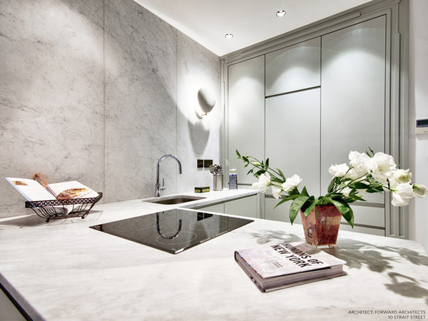 bianco carrara marble indoors kitchen