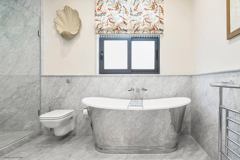 bianco carrara c wall cladding bathtub stylish bathroom