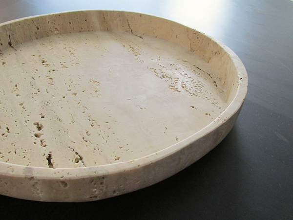 travertine decorative object centre plate object Caldera natural stone workshop Malta