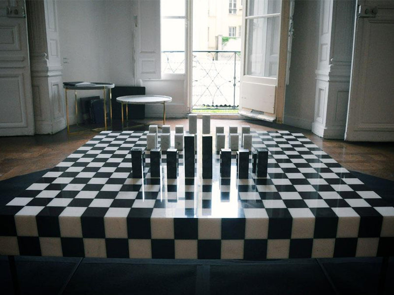 chess table marble close up