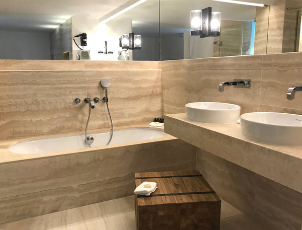 travertine ondulato wall cladding bathroom vanity top