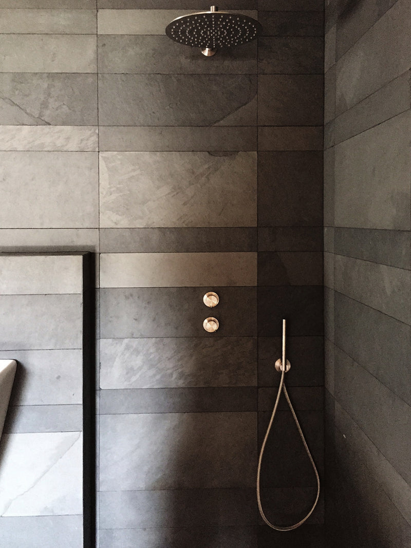 grey slate shower wall cladding malta natural stone RLautier workshop