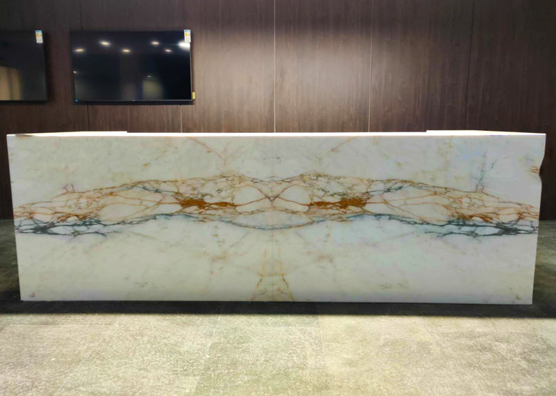 calacatta oro gold counter marble front view