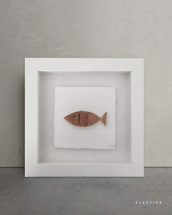 shapes of nature fish marble rosso alicante marble stone art piece framed artwork