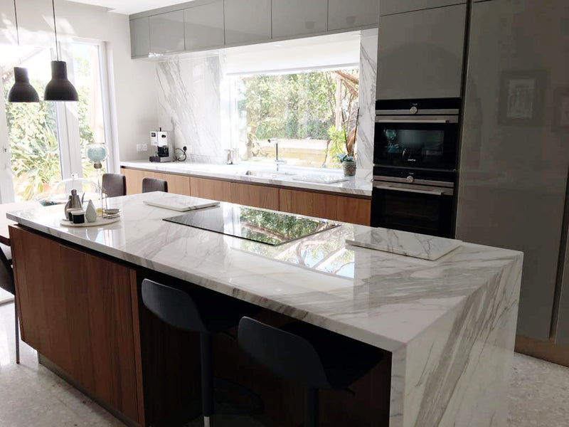 bianco statuario marble kitchen countertop close up malta