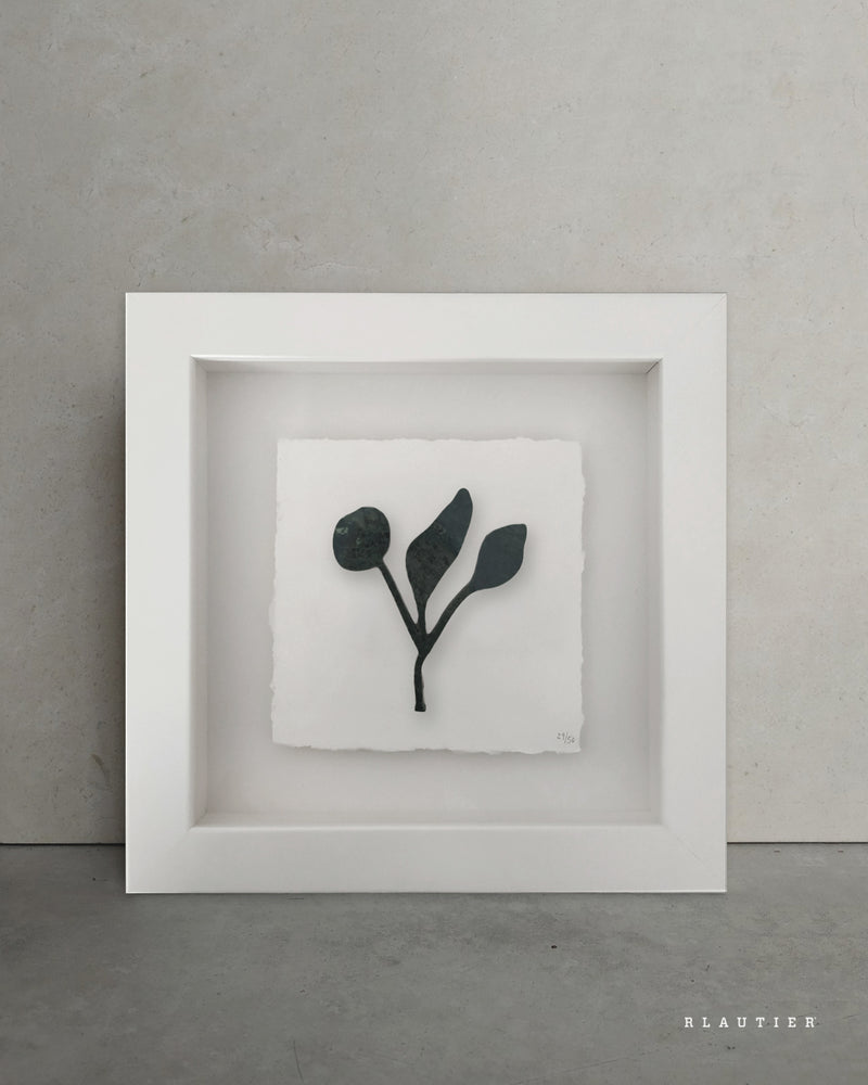 shapes of nature plant marble green handmade piece framed artwork Reuben Lautier Natural Stone Workshop