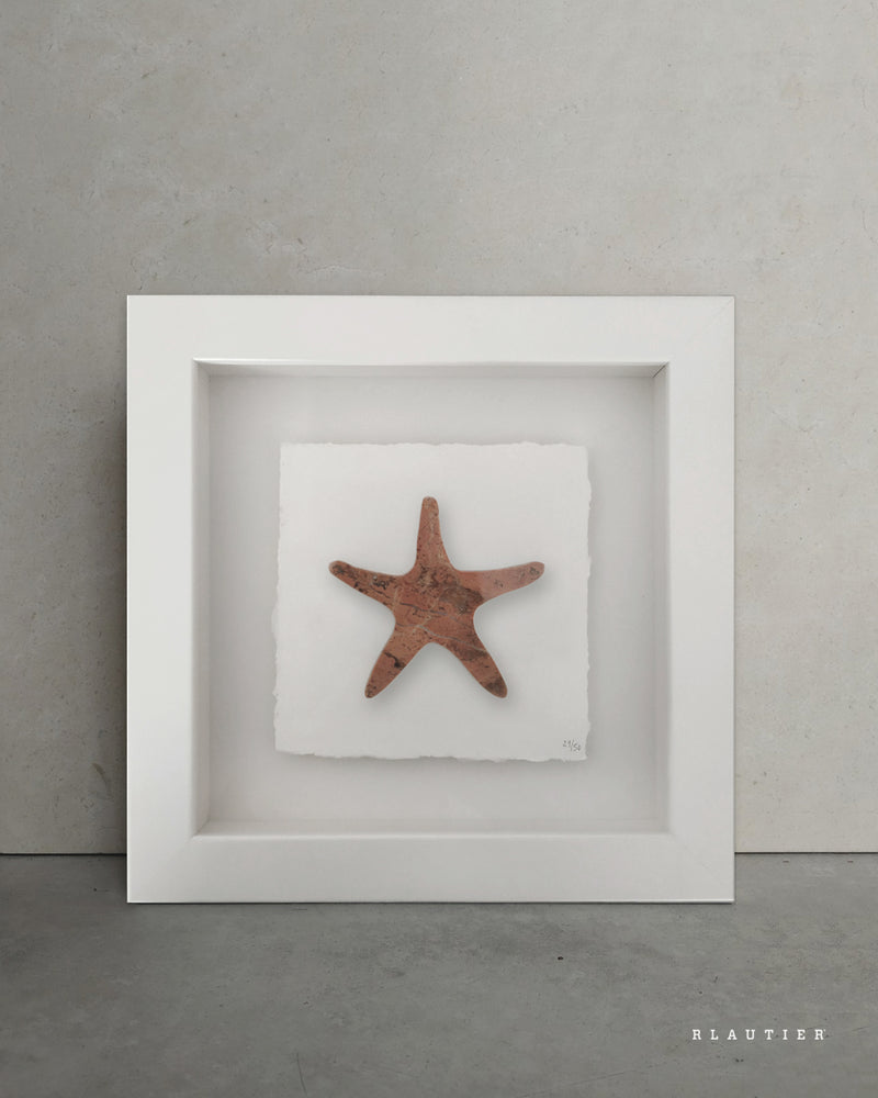shapes of nature starfish marble rosso alicante recycled material natural stone piece framed artwork