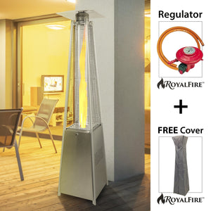Royal Fire™ 13kW Stainless Steel Pyramid Patio Heater With Quartz Glass Tube