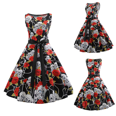 Women Sleeveless Floral Vintage Dress - Camden Street