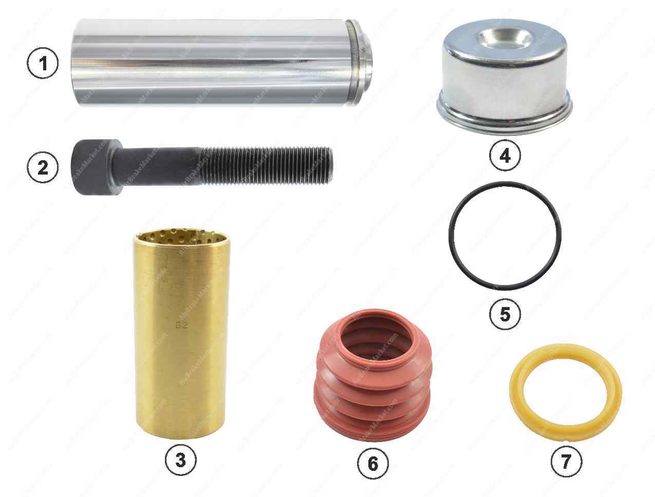 GK81011 Guide pin and seal kit SB6, SB7 Knorr-Bremse Caliper K000696, K004218, II310370066, 0024200383, 3434380500, 0980102970