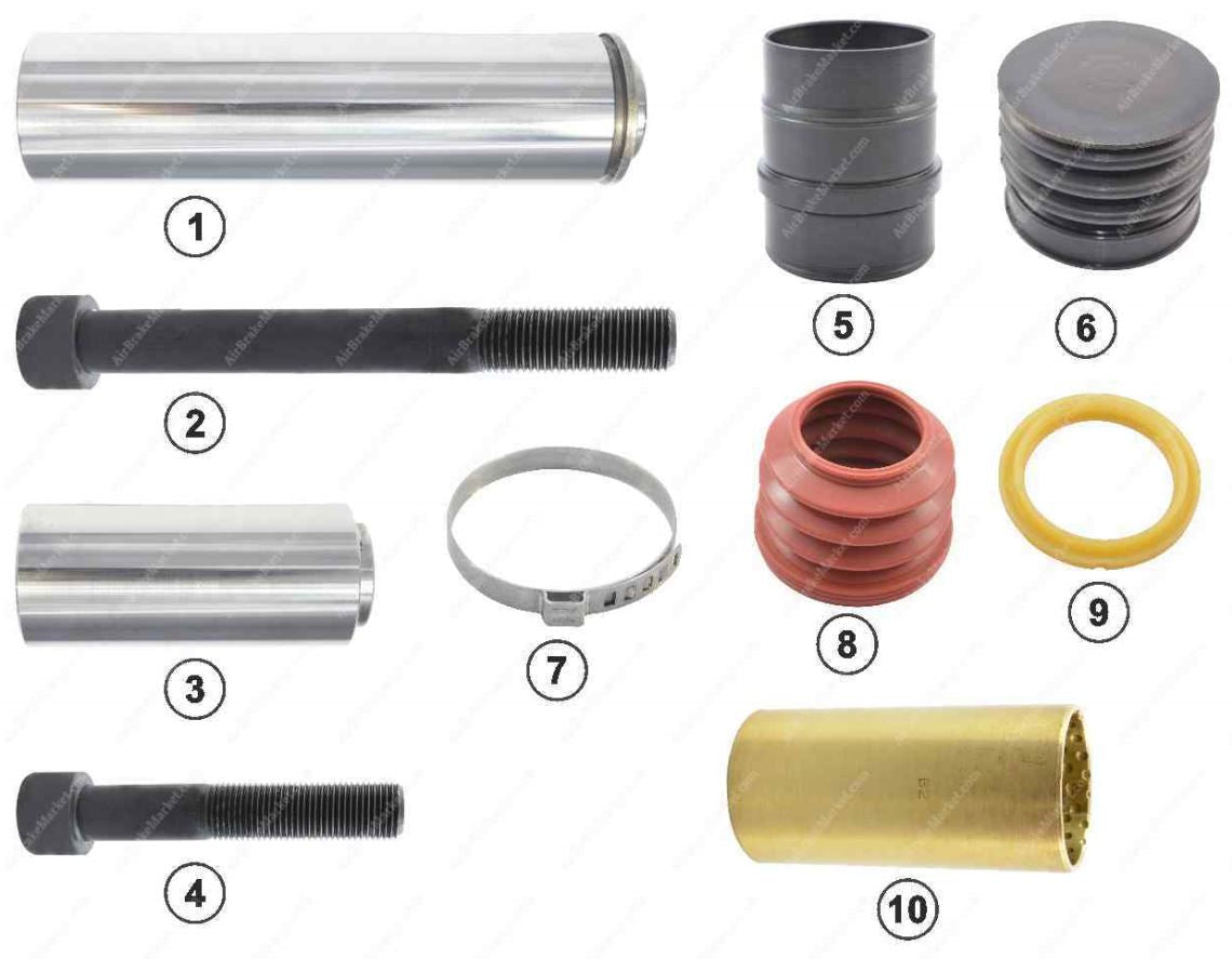 GK81013 Guide pin and seal kit SB6, SB7 Knorr-Bremse Caliper K000132, II197140062, II197330062, II304130062, II350470062, 81508226005, 0004202182, 1390426