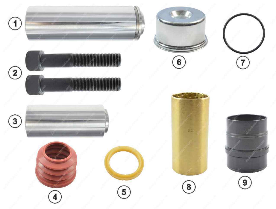GK81015 Guide pin and seal kit SB6, SB7 Knorr-Bremse Caliper II39769F0062, 42537451, 2121645, CKSK.1.6