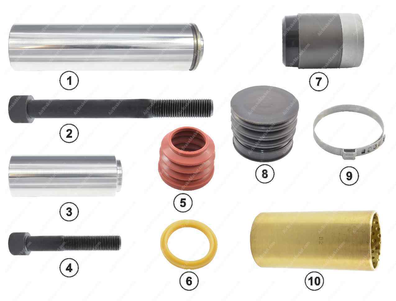 GK81016 Guide pin and seal kit SB6, SB7 Knorr-Bremse Caliper K000687, K000386, 1603326