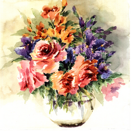 Orginal watercolor painting lovely lilies in vase
