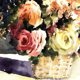Orginal watercolor painting lovely mix roses in basket