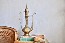 Large brass ewer / aftaba with etched detail