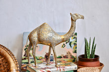 Large vintage brass camel ornament with etched detail