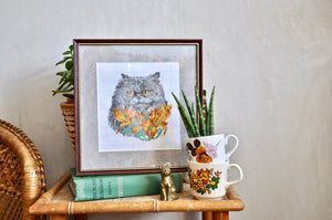 Vintage cross stitch cat framed picture