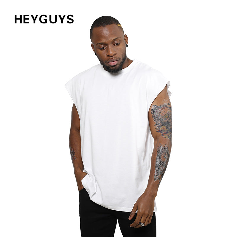 2017 HEYGUYS new design sleeveness  fashion hip hop plain plus short sleeve T shirt brand men t-shirt  no sleeve over size men