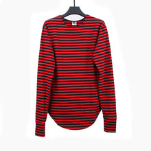 HEYGUYS 2017red Striped T-shirt  wholesale fashion brand summer LONG oversize extend t shirts designer finger long sleeve cotton