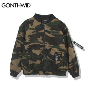GONTHWID 2017 Mens Camouflage Bomber Jackets Men's Embroidered Zipper Military Army Green Camo Bomber Jacket Male Thin Jackets