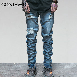 GONTHWID Mens Ripped Ankle Zipper Jeans Men's Knee Holes Jeans Male Summer Vintage Distressed Skinny Slim Fit Blue Denim Pants