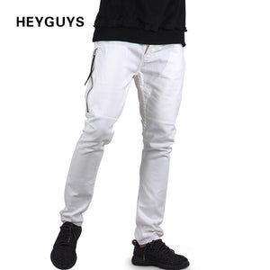 HEYGUYS fashion jeans pants men street white color  hip hop fitness mens slim pants skirt pants men clothing