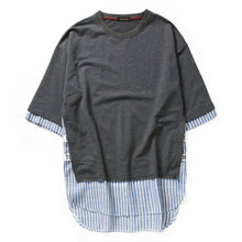 GONTHWID Striped Patchwork Curved Hem Extended T Shirts 2017 Mens Hip Hop Side Split Open Longline Tops Tee Urban Swag Tshirts