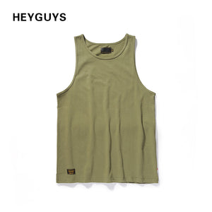 HEYGUYS green cotton color pure color tank top vest oversize men summer street wear hip hop  brand freedom street high quality