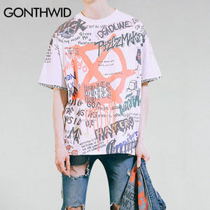 GONTHWID Graffiti Anarchy Symbol T-Shirt Punk Gothic Symbol Sign Printed Tshirts Men 2017 Summer Hip Hop Short Sleeve Streetwear