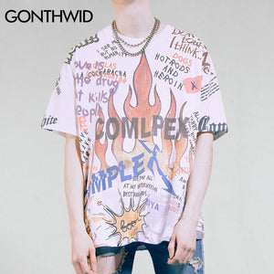 GONTHWID Gothic Graffiti Flame Trasher T Shirts 2017 Mens Funny Skeleton Skull Printed Oversized Tees Hip Hop Casual Tshirts