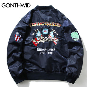 GONTHWID Embroidery MA1 Pilot Bomber Jackets Mens 2017 Autumn Tiger Embroidered Thin Bomber Jacket Coats Army Green Blue Black