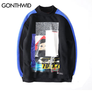 GONTHWID Patchwork Turtleneck Fleece Hoodies Mens 2017 Autumn Winter Fashion Printed Casual Long Sleeve Pullover Sweatshirts