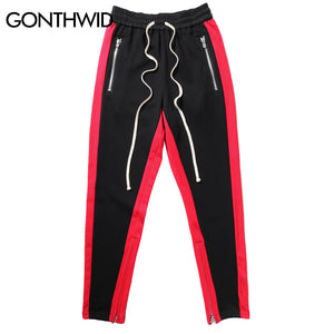 GONTHWID Side Ankle Zipper Pants Patchwork Color Block Pockets Pants 2017 Hip Hop Casual Sweatpants Fashion Jumpsuit Joggers