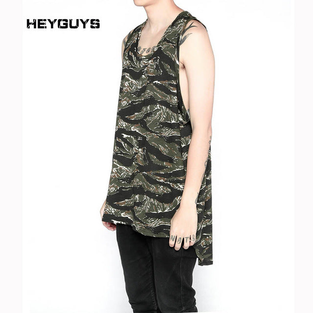 HEYGUYS new Fashionable hiphop  Original oversize camo men's summer fashion casual leisure render  tank top brand high quality