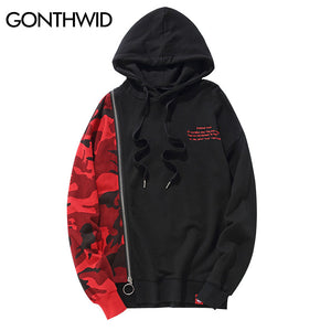 GONTHWID Camouflage Patchwork Long Zipper Hoodies 2017 Camo Printed Irregular Pullover Sweatshirt Hooded Hip Hop Streetwear