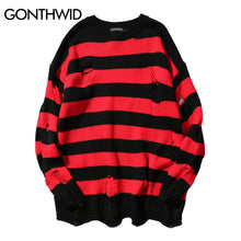 GONEWILD Ripped Stripe Knit Sweaters Men Hip Hop Hole Casual Pullover Sweater Male Fashion Loose Long Sleeve Sweaters Red Black