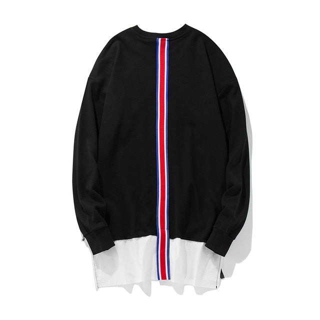 GONTHWID Front Long Zipper Back Ribbon Hoodies Hip Hop Patchwork Extended Pullover Sweatshirts Fashion Double Layer Streetwear