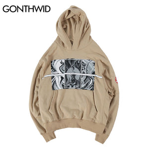 GONTHWID Hip Hop Casual Loose Hoodies Streetwear Mens 2017 New Design Fashion Printed Pullover Hooded Sweatshirts Black Khaki