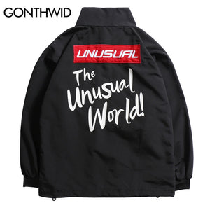 GONTHWID Embroidery Letters Pullover Jackets Men 2017 Casual Solid Color Printed Stand Collar Jackets Hip Hop Tracksuit Jackets