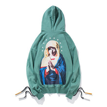 GONTHWID Side Lace-Up Embroidery Hoodies 2017 Autumn Virgin Mary Printed Oversized Sweatshirts Hip Hop Off Shoulder Streetwear
