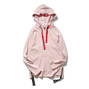 GONTHWID Side Zipper Solid Color Mens Hoodies 2017 Ribbon Draw String Hooded Sweatshirts Hip Hop Cotton Streetwear Pink Black